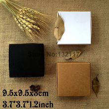 50PCS 9.5*9.5*3CM Black Cartons Cajas Kraft Paper Box White Gift Box Packaging Wedding Favors Candy Box Party Supplies Soap Box