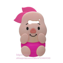 Soft Silicone Phone Cover Case For Alcatel One Touch Pop C5 OT5036 5036D 3D Cute Cartoon Rose Red Big Ears Pig