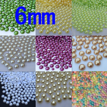 6mm 150pcs 18 color,ABS Imitation Pearls half round Bead ,Pearls round for crafts, Phone Case/Beauty Nail/crafts diy(China)