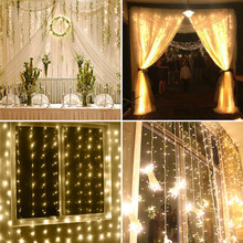 3*3m Pretty 300 LED Lamp Wireless Remote Control Curtain Light Nice Christmas Party Home DIY Decorative Props EU/US/UK/AU Plug(China)