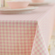 Korean Pastoral Style Pink Plaid Tablecloth Cotton & Linen Fresh Desk Cover Rectangular Coffee Cabinet Microwave Dustproof Cover