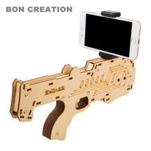 2017 Newest Portable Bluetooth AR-Gun Newest style 3D VR Games Wooden Material Toy AR Game Gun for Android iOS iPhone Phones (China)