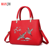 Style restoring ancient ways crane fairy handbag leather ladies handbags shoulder bag with Chinese characteristics Female