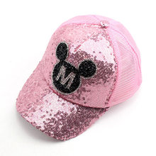 3-6 Year Bling Sequin Panel Ball Cap Cute Mouse Mesh Back Trucker Cap Children Girl Hip Hop Snapback Hats White Black Royal Blue