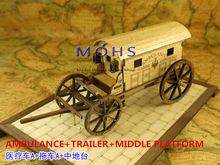 HOT Wooden scale model weapons napoleon period NAPOLEON CANNON+MIDDLE  PLATFORM+AMBULANCE+TRAILER  scale wooden military models