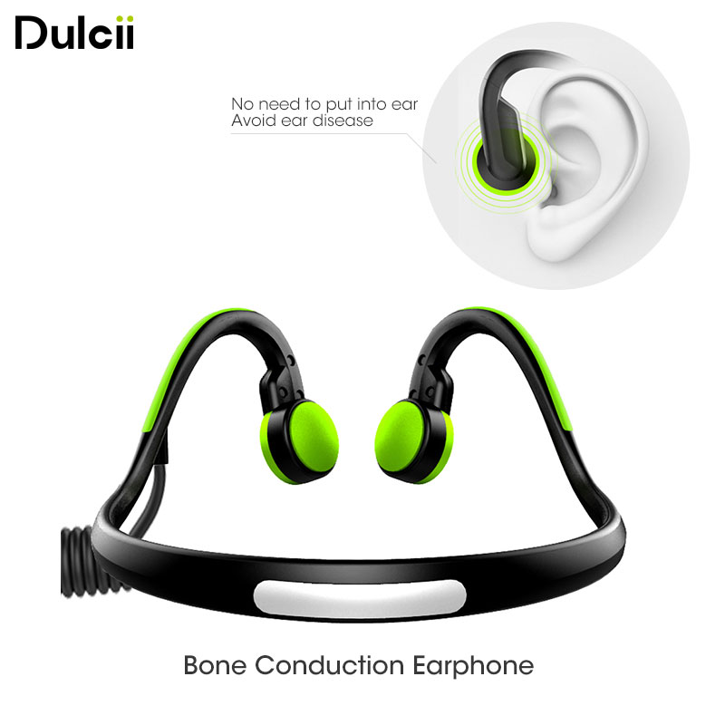 DULCII 3.5mm Wired Bone Conduction Earphone Outdoor Sports Noise Reduction Headset Earphones with Mic Healthy Avoid Ear Damage<br>