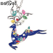 Newei Deer Necklace Enamel Pendant Zinc Alloy Plate New 2016 Fashion Jewelry For Women Girl Statement Charm Collares Accessories