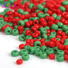 OlingArt 2MM Czech AAA Christmas opaque Green/Red Glass Seed beads 1600pcs Spacer Bead  Bracelet necklace DIY jewelry making