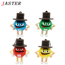 JASTER m&m chocolate beans usb flash drive, M Bean Memory Stick 2GB 4GB 8GB 16GB 32GB Real Capacity Pen Drive Free shipping