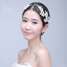 gold Silver leaf bridal hair bands Crystal headband wedding bride head piece pageant hair accessories jewelry