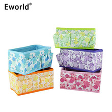 Eworld Foldable Floral Multifunction Make Up Cosmetics Storage Box Container Bag Mini Dresser Desktop Makeup Organizer