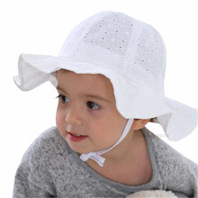 Princess Baby Girls Sun Hat Baby Summer Hats Cotton Bucket Caps Child Sun Cap Girls Brim Beach Hat White Pink