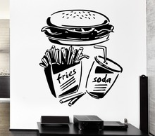 Free Shipping Fast Food Fries Soda Burger Restaurant Pop Art Wall Sticker vinyl removable wall stickers