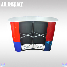 2*2 Economical Curved Trade Show Booth Foldable Promotion Pop Up Table,Exhibition Advertising Podium Counter(Not Include Banner)