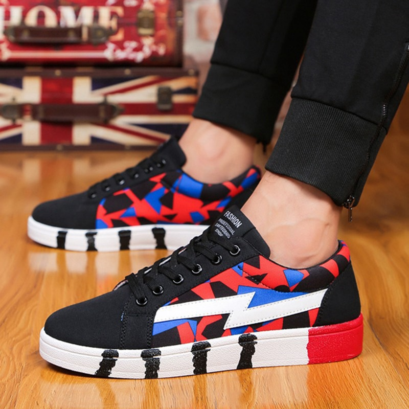 Low Top Lace Up New Men Canvas Shoes Spring Summer Casual Outdoor Walking Flats For Mens Breathable Printed Flat Heel Shoes<br><br>Aliexpress