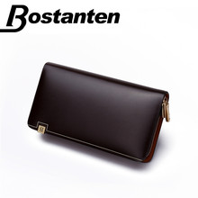 BOSTANTEN 2017 New Vintage Men's Fashion Split Leather Casual Zipper Large capacity Design Leather Wallet Hand Bag Clutch Purse