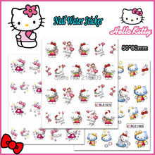 Nail 22Sheets/lot Mix Color Hello Kitty Nail Sticker Cartoon Design Individual Package DIY Nail Art Water Tips BLE1665-1675