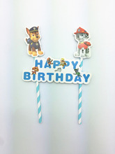 Cartoon Dog Cupcake Toppers Baking Decorations Birthday Party Supplies