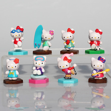 Classsic Cute Hello Kitty Figures PVC Action Figure Toys KT Cat Toy8Pcs/Set 3-4cm Christmas Gift For Children(China)