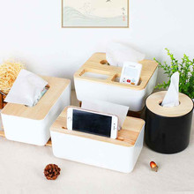 1Pcs Home Decoration Napkins Holder Oak Wooden Tissue Box Home Dispenser Box(China)
