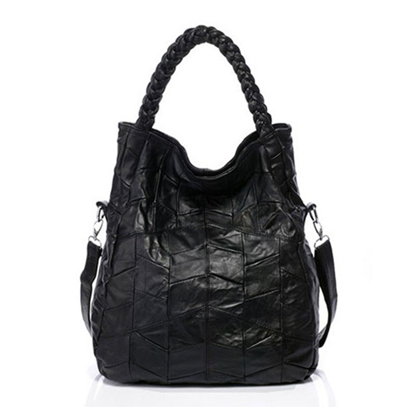 Knitting Women Leather Handbags Black Patchwork Handbags Sheepskin Shoulder Bag Designer Hand Bags Sac a Main Femme De Marque<br>
