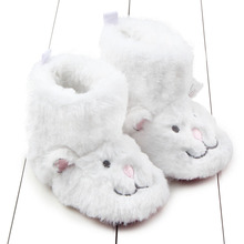 White Fleece Winter Baby Shoes Infant Cartoon Cat Snow Boots Brand Toddler Girl Boy Wool Crib Fur Booties Soft Sole bebe sapato(China)
