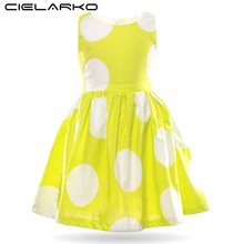 Cielarko Kids Girls Polka Dot Dress Summer Cotton Casual Printed Dresses Baby Party Weddings Beach Shorts Bodycon Fancy Frocks