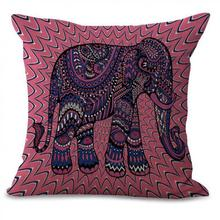 Manufacturers Selling Painted Animal Elephant Printing Cotton Linen Throw Pillow Sofa Office Chair Cushion For Home Gifts(China)
