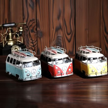 Retro BUS Skateboard Car model metal antique cars Home Decoration Gift free shipping(China)