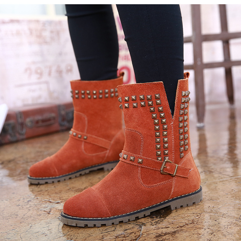 Snow Boot New Metal Rivets Belt Buckle Round Head Martin Boots Large Shoes Women Plus Size<br><br>Aliexpress