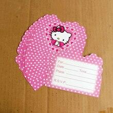 10 Pcs Pack Cute Hello Kitty Invitation Card Cartoon Theme Party For Kids Birthday Decoration