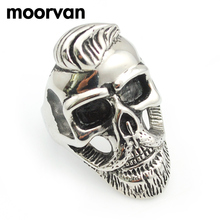 Moorvan USD 1.99/PC,old gentleman beard skull ring,punk/rock/cool/fashion/hiphop stainless steel jewelry rings USA SIZE 7-13