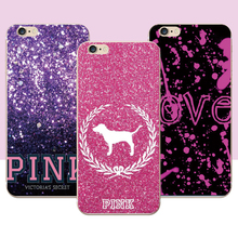 Love Pink Fashion Phone Case For iPhone 7plus 7 6plus 6s 6 5s 5 case Transparent Soft Silicone Tpu Hard PC Smartphone Cover Case