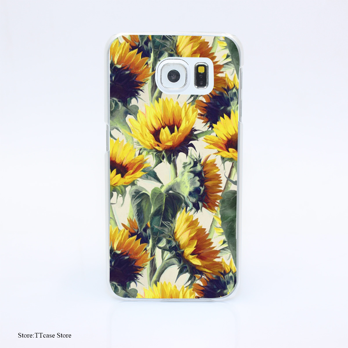 3229G Sunflowers Forever Sbv Print Hard Transparent Case Cover for Galaxy S3 S4 S5 & Mini S6 S7 & edge