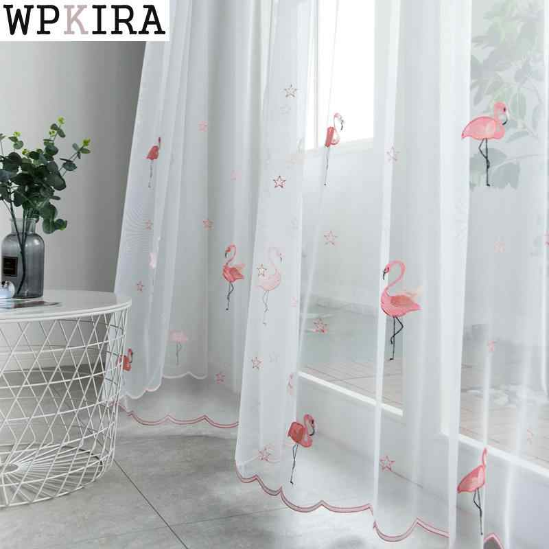 Luxury Embroidered Swan Tulle Green Curtains For Living Room White Embroidery Curtains With bottom lace 238&30