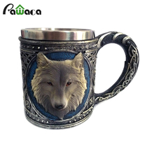Wolf Drinking Mug Double Wall Stainless Steel 3D Skull Mugs Coffee Cup Mug Skull Knight Tankard Drinking Cup Canecas Copo