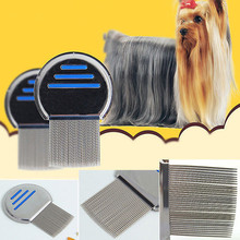 Pet Dog Cat Grooming Combs Fur Shedding Hair Removal Grooming Rake Comb Cleaning Brush stainless steel Catching Lice flea comb(China)