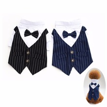 P29 Striped Pet Dogs Groom Tuxedo Bow tie Wedding Suit Puppy Dog Gentleman Formal Party Costume Apparel Chihuahua Outfit(China)