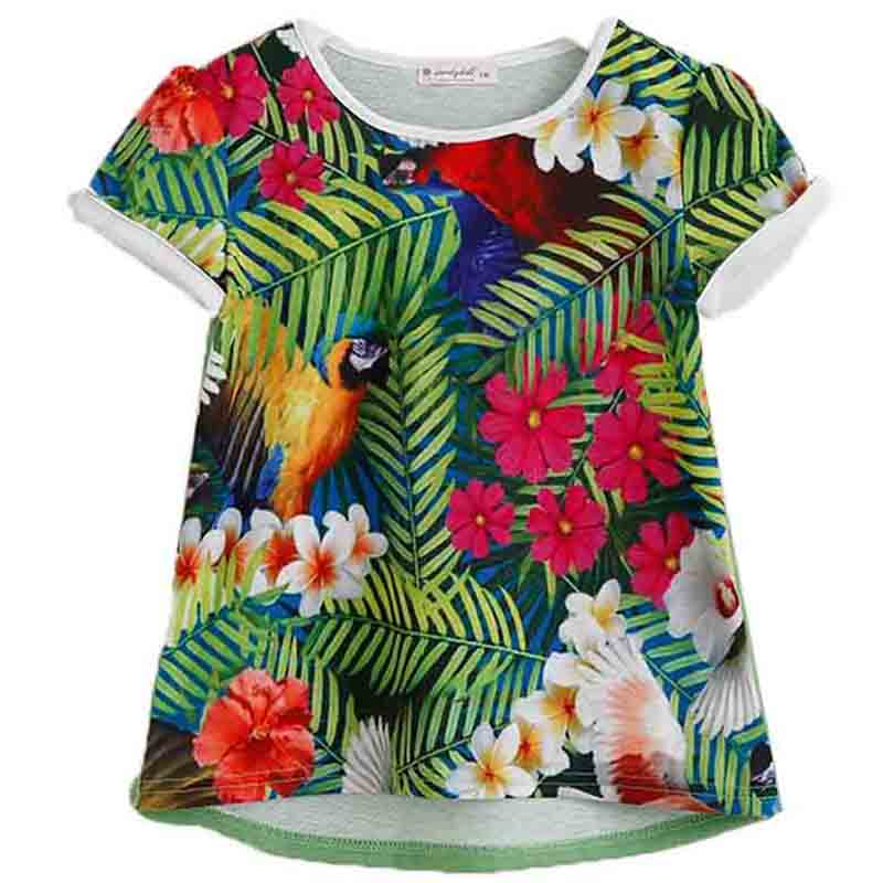 Hot Sale 2017 Summer Brand Kids Children Clothing Flower Printed Designer Girls T Shirts Fashion Cotton Infant T-shirt Tops Tees<br><br>Aliexpress