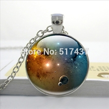 HZ--A539 New Universe Solar System Necklace Galaxy Pendant Space Jewelry Glass Photo Cabochon Necklace