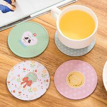 Ouneed HAPPY DAY Colorful Silicone Cup Drinks Holder Mat Tableware Placemat Tinplate wood round bottom coasters  Coaster Cup mat