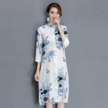 2017 Spring Autumn Women New Robes Dress Vintage style Linen Plus Size Beautiful Print Dress Loose fashion elegant Dress 9L134