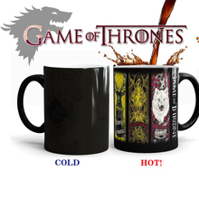 Game Of Thrones mugs magic coffee mugs morph cup gifts magical heat sensitive transforming Black colour change morphing Tea Cups