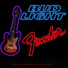 Bright Bud Light Fder Red Guitar Neon Sign Handcrafted Neon Bulbs Real Glass Tube Decorat Garage Wall Sign Neon Lights 24x24