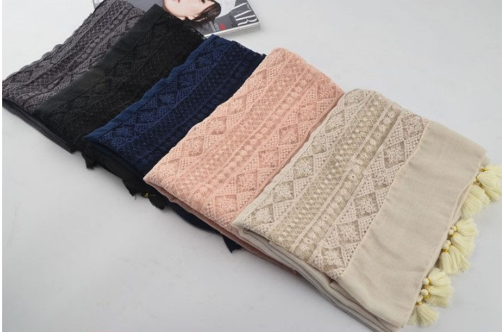 Free shipping Plain Cotton Viscose Scarf Muslim Hijab Muffler Head Wrap flower Quality Scarves Wholesale Retail Hot