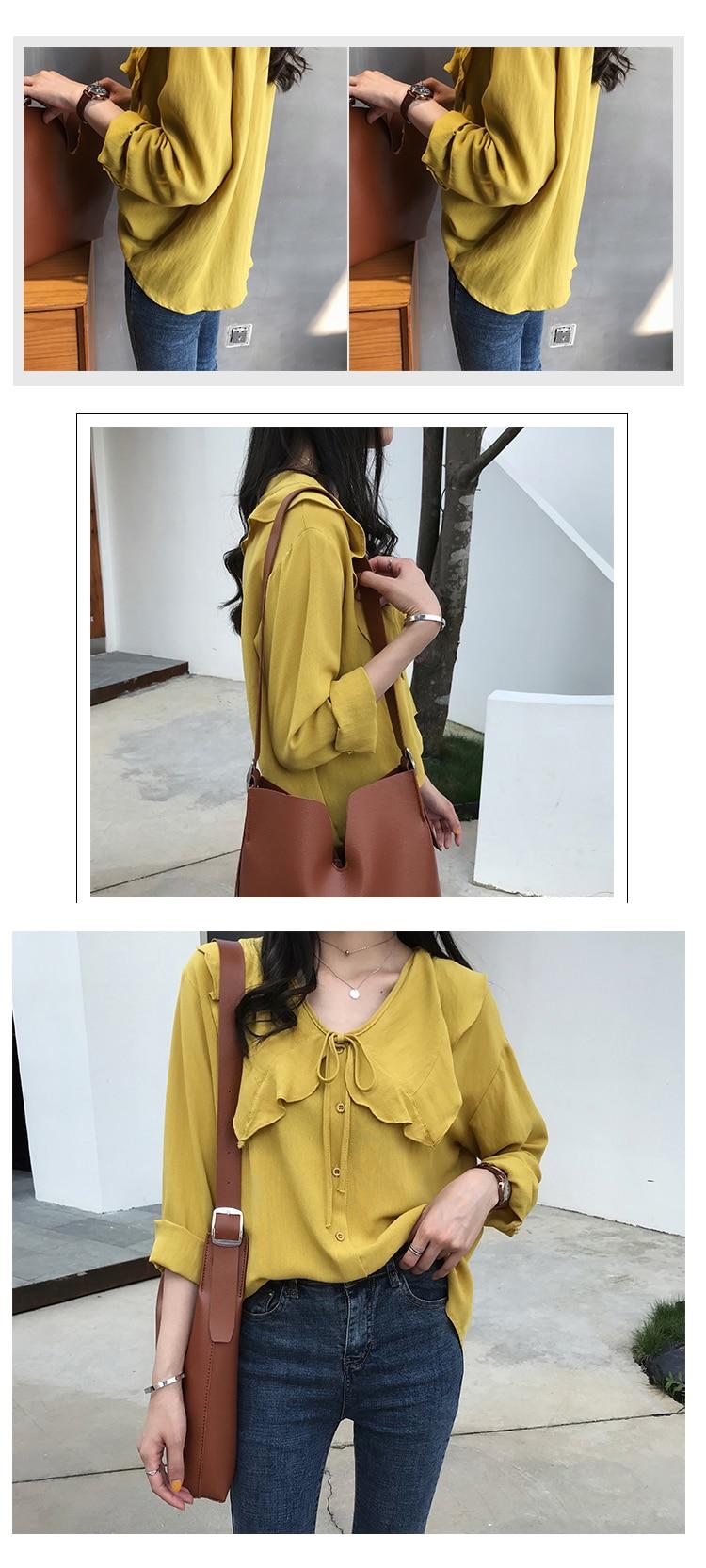 Kimono Cardigan Cotton Linen Peter Pan Collar Womens Tops and Blouses Tie Bow Shirt Loose Oversized Casual Ruffles Blouse Women 14 Online shopping Bangladesh