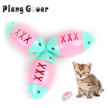 6Pcs/Lot Pet Plastic Rugby Cat Toys Football Training Cats Toy Color Random(China)