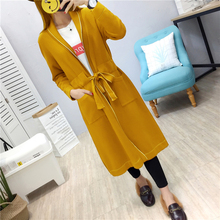 long Cardigan Sweaters Women 2017 Fall spring Autumn Casual Knit Jumper Outwear overcoat sash Nightgown sweater jacket coat(China)