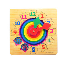 HIINST 12 Number Fraction Shape Sorter Mathematics Wooden Block Clock Toy Gift Drop Ship Aug14 Drop Shipping(China)
