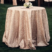 Cheap!!! Mesh Champagne 90inch Round Sequin Fabric Tablecloth For Wedding/Event/Party/Banquet/Christmas Decorations